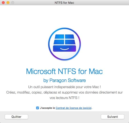 Installer Paragon NTFS sur MAC
