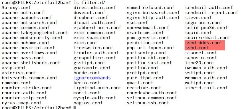 Liste des filtres par défaut dans le répertoire filter.d de Fail2ban