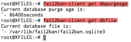Commande fail2ban-client pour récupérer des informations sur la base SQL de Fail2ban