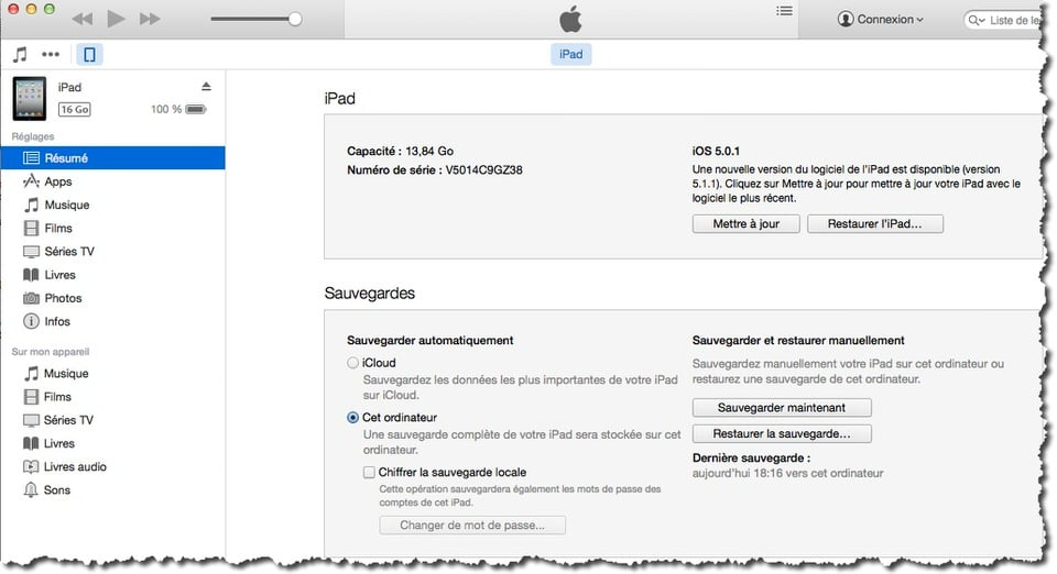 Ouvrez iTunes et sélectionner votre iPad.