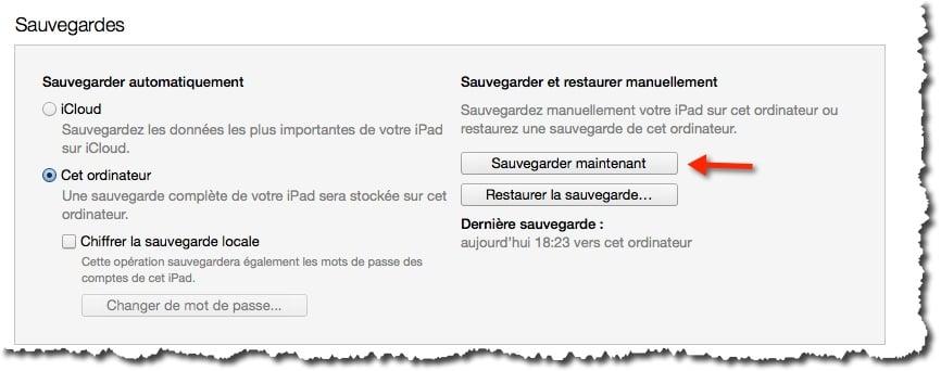 Réaliser une sauvegarde de votre iPad avec iTunes