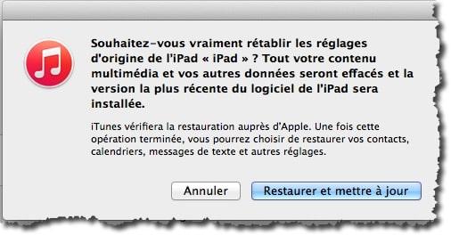 Remettre la configuration usine de votre iPad avec iTunes
