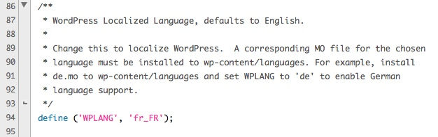 modifier le fichier wp-config.php pour appliquer le changement de langue à votre WordPress