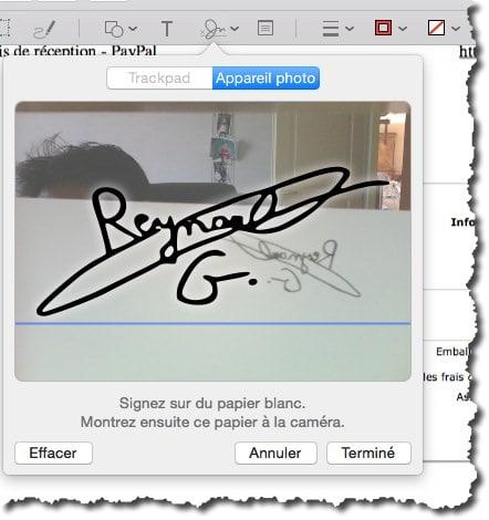 créer une signature avec sa webcam