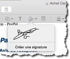 sélectionner sa signature dans aperçu