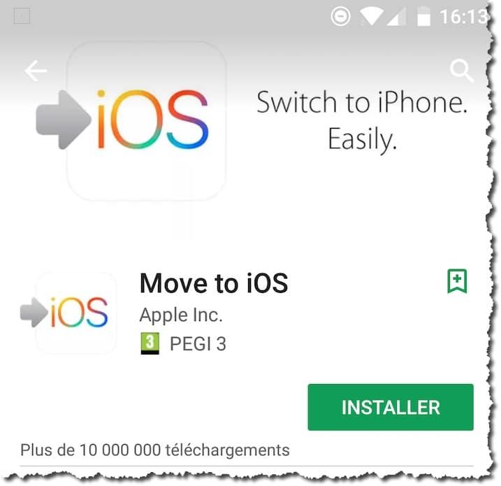 Transférer d'un Android vers un iPhone.