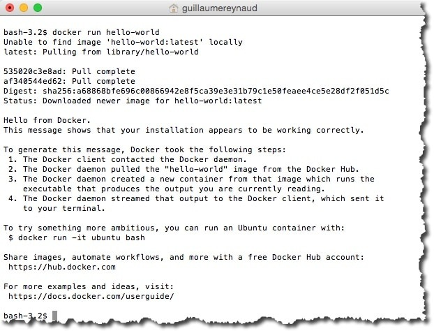 Utiliser un conteneur Docker en ligne de commande sous MAC