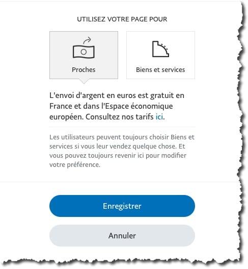 choisissez l'option Proches ou Biens de services sur Paypal
