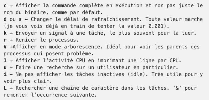 Liste de raccourcis pratique pour le mode interactif de la commande top sous Linux