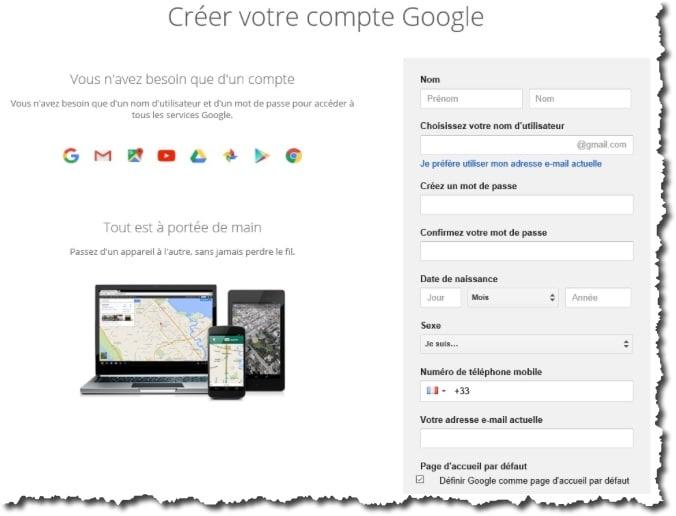 Créer un compte Google.