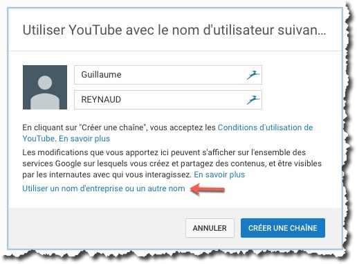 Création de sa chaine Youtube.
