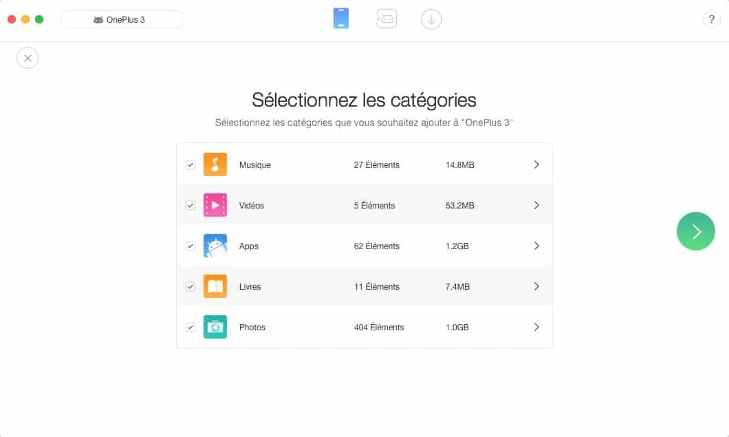 Anytrans pour Android restauration de fichiers