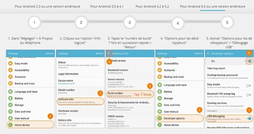 activer debogage USB sous Android