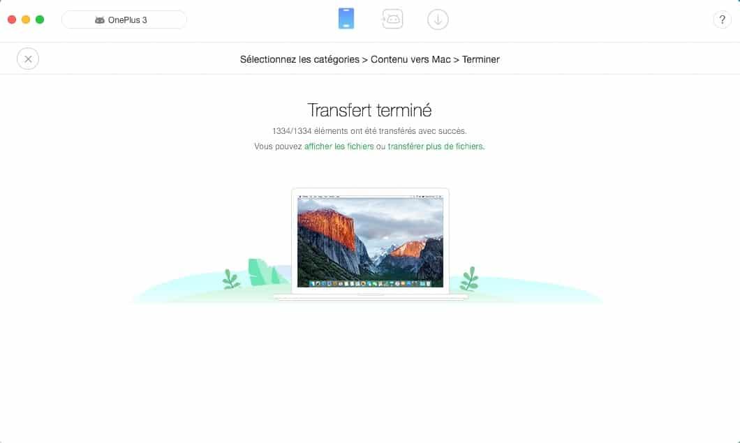 Anytrans pour Android fin de transfert