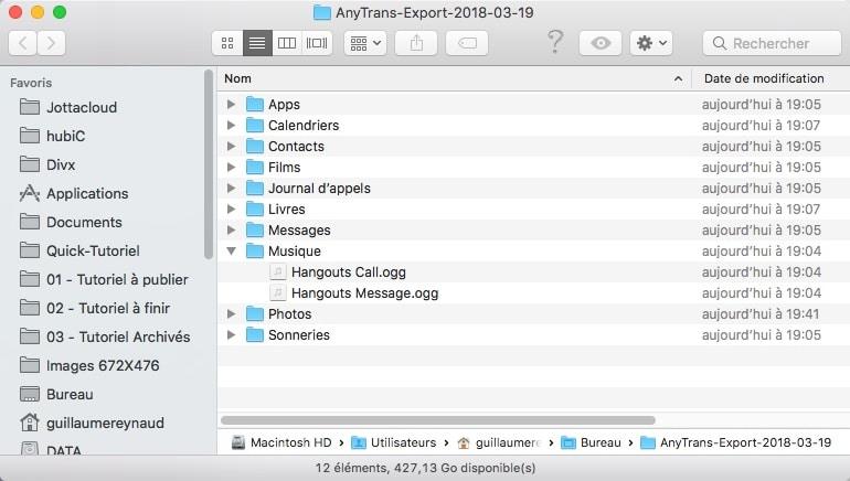 Anytrans pour Android répertoire de backup