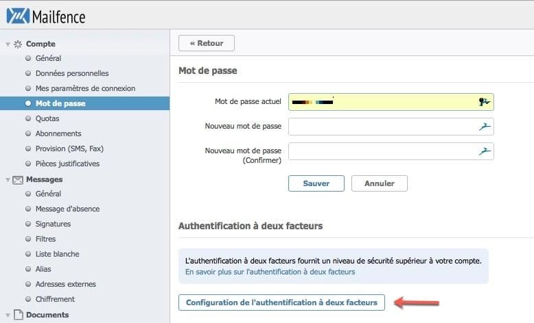 configuration du mot de passe de Mailfence