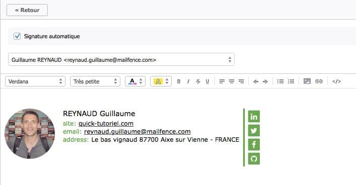 exemple de signature dans Mailfence