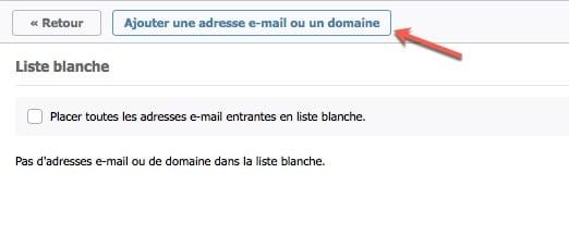 liste blanche d'adresse mail dans Mailfence