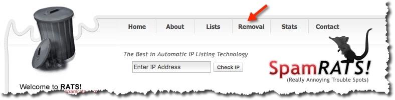 supprimer son IP blacklisté sur SpamRATS