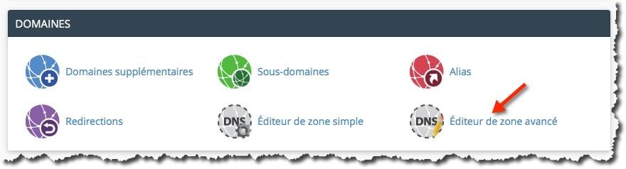 cpanel gestion des DNS