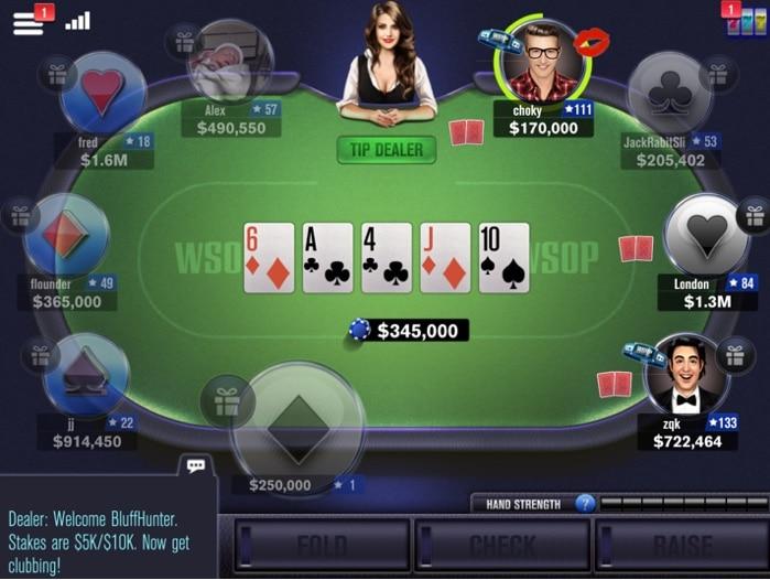 interface du jeu WSOP