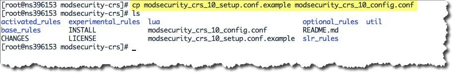créer un nouveau fichier de configuration du module OWASP CRS