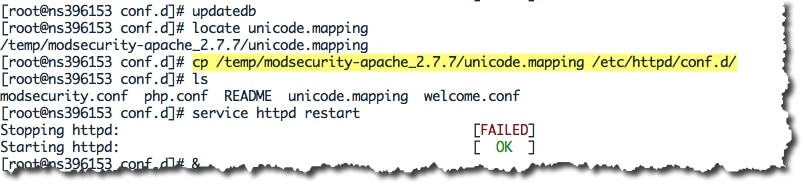erreur fichier unicode.mapping avec mod_security