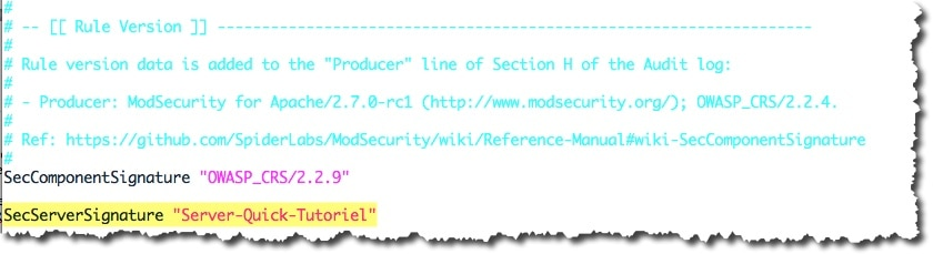 Modification SecServerSignature du fichier de configuration de Mod_Security