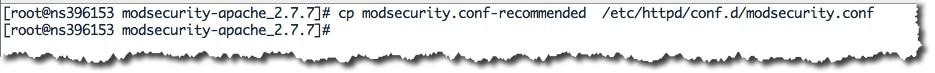 copier le module mod_security dans le répertoire du serveur apache