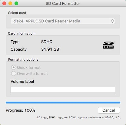 formater une carte SD avec SD Memory Card Formatter