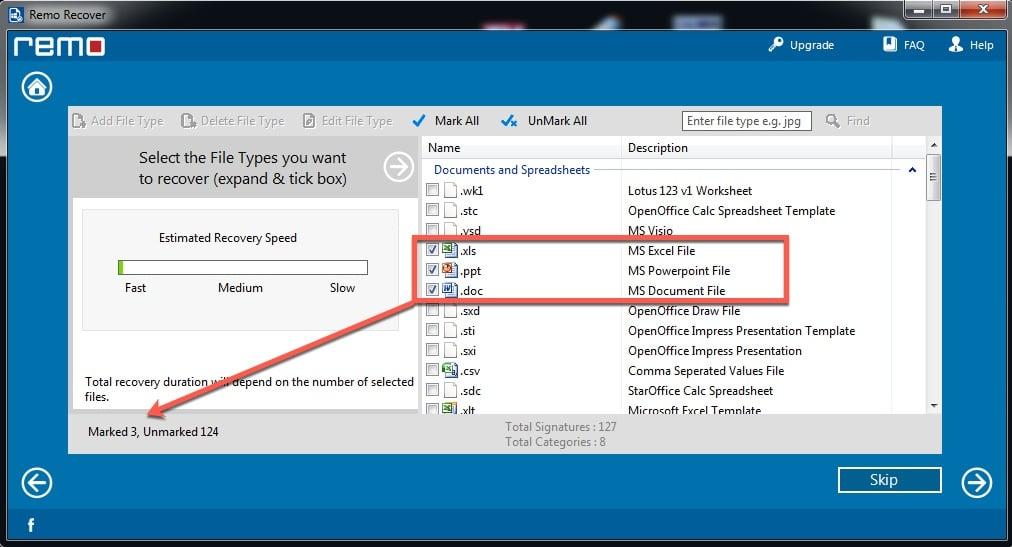 Sélection du type de fichiers à récupérer par Remo Recover pour Windows