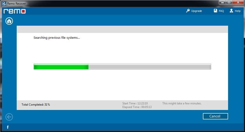 Rechercher une partition supprimée avec Remo Recover Windows