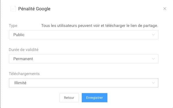 options de partgae d'un fichier dans Anytrans pour Cloud