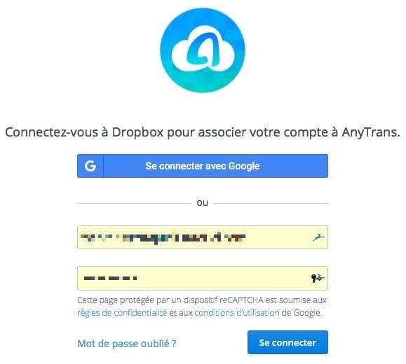 associer un compte dropbox à Anytrans pour Cloud
