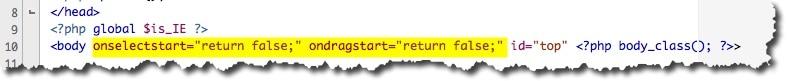 désactiver le drag and drop d'image et la sélection de texte sous WordPress