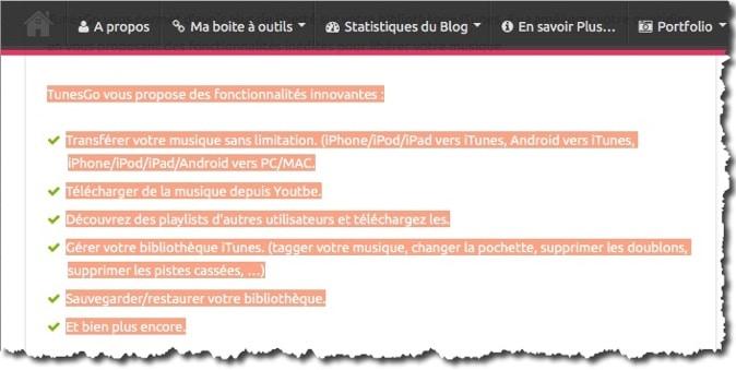 Sélection de texte sur une page web