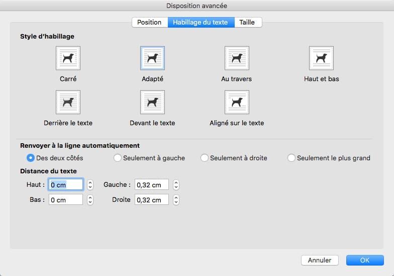 Sélectionner un habillage de texte pour Word sur MAC