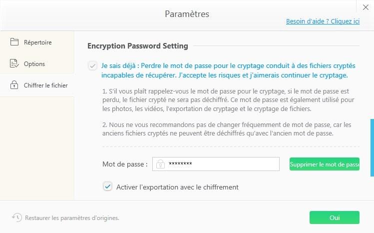 Paramétrage du cryptage avec WinX MediaTrans