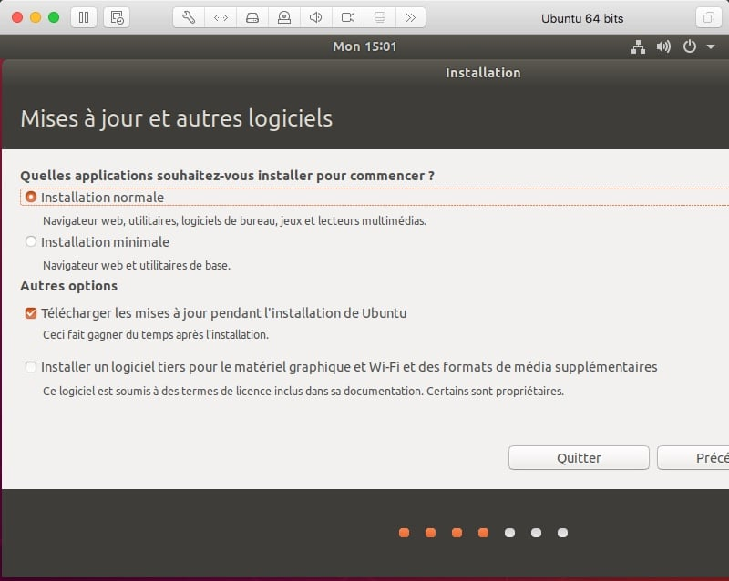Choisir le mode d'installation d'Ubuntu Installation normale ou minimale