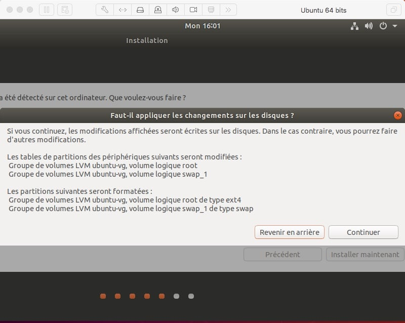 récapitulatif des options d'installation d'Ubuntu