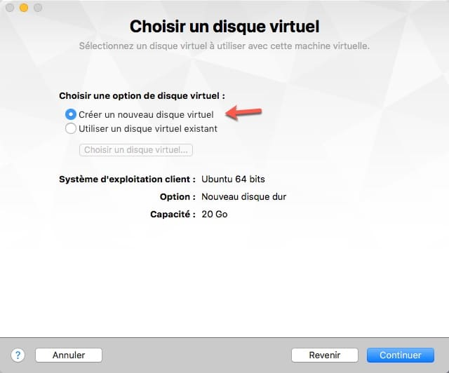 créer un disque virtuel sous VMware Fusion
