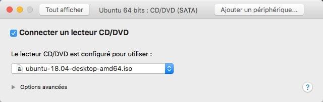 Retourner dans les réglages dans CD/DVD (SATA) afin de faire booter l'image ISO de Ubuntu.