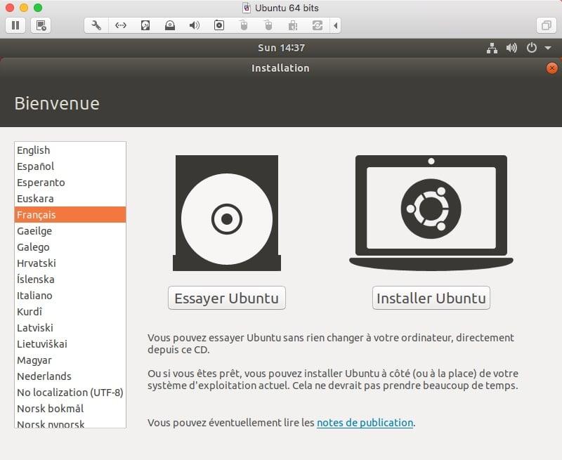 Débuter l'installation de Ubuntu en cliquant sur Installer Ubuntu, après avoir choisi votre langue dans la colonne de gauche.