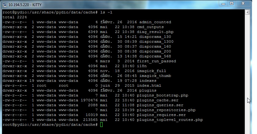 modification des fichiers Pydio dans le répertoire cache