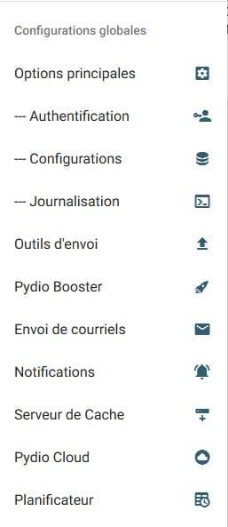 le nom des menu ne s'affiche pas dans Pydio 8 après une mise à jour
