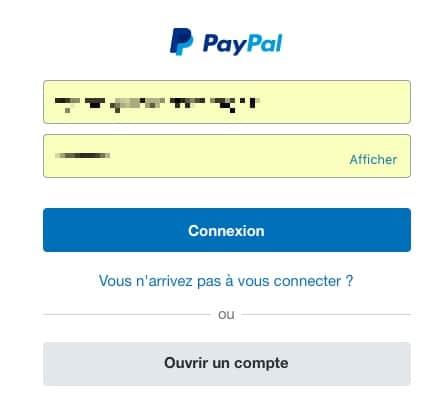 Connectez-vous à votre compte Paypal