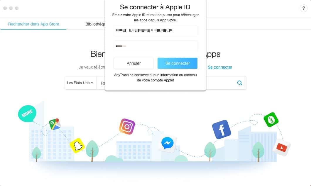connectez-vous à l'apple store avec AnyTrans pour IOS