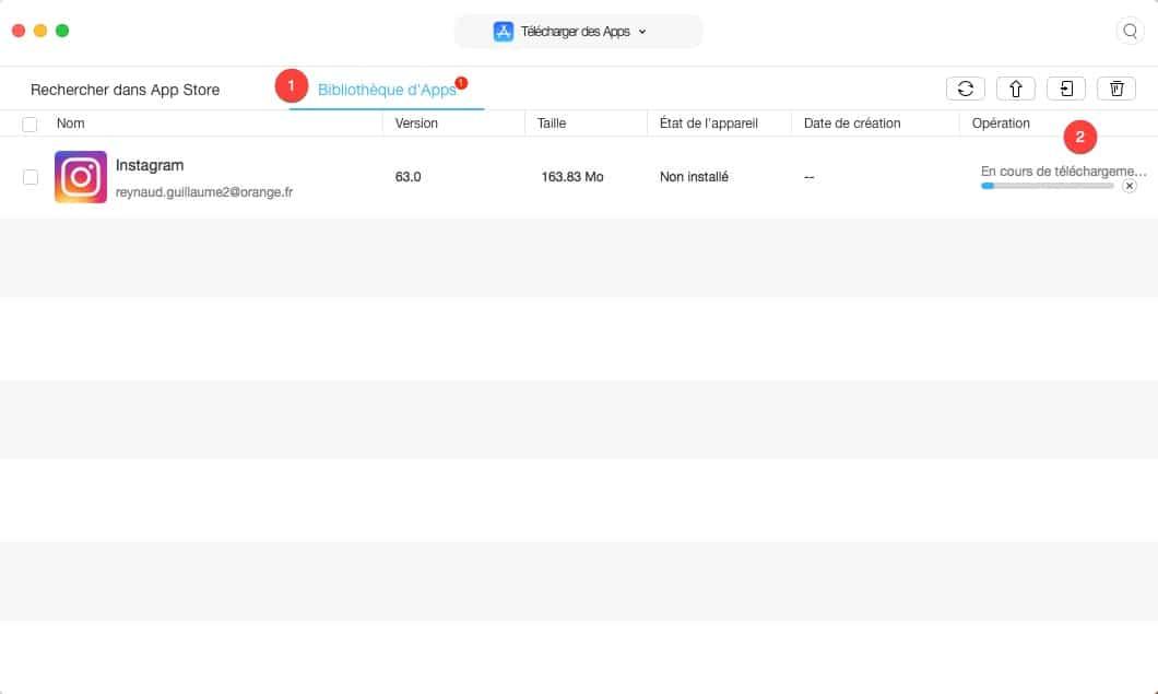 télécharger une app depuis l'apple store avec AnyTrans pour IOS