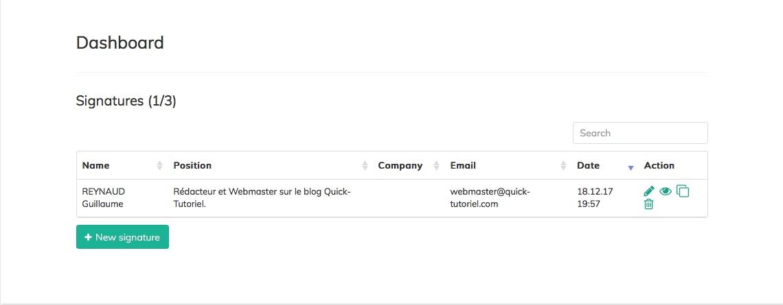dashboard de MySIgnature.io pour gérer toute ses signature de mail