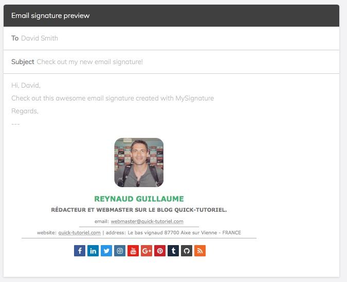 prévisualisation de vos modifications sur votre signature mail avec MySignature.io